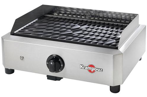 Barbecue électrique à poser - 1700 Watts Plaque amovible en fonte émaillée Thermostat réglable + témoin Habillage inox