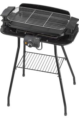 Barbecue électrique - Gril et plancha Thermostat réglable avec témoin de chauffe Hauteur de grille ajustable 3 positions Cuve aluminium amovible - Poignées thermo isolées - Pare vent
