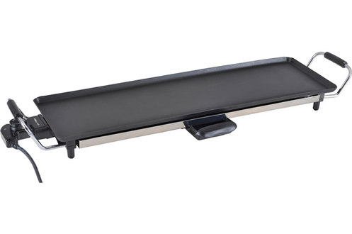 Teppanyaki - Surface de cuisson 90 x 23 cm Revêtement anti-adhésif- Thermostat réglable Poignées froides - Bac récupérateur de jus Puissance 2000W