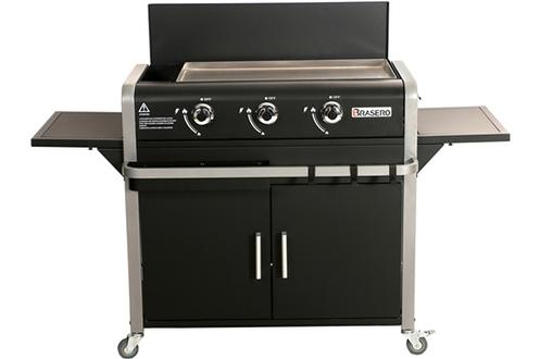 Teppanyaki gaz 3 brûleurs inox - Puissance par brûleur : 2350 W Surface de cuisson 68.5 x 35.5 cm Plaque de cuisson en inox - Cuve acier 2 tablettes rabattables - Compartiment à accessoire