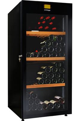 Capacité 178 bouteilles 3 clayettes en bois Dimensions 145x62x71 cm Thermomètre en façade - Eclairage LED
