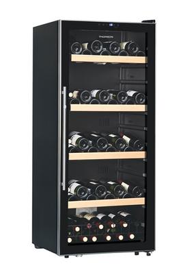 Capacité 130 bouteilles 3 clayettes 1/2 en acier Dimensions HxLxP : 141.5x59.5x59 cm Eclairage LED - Contrôle électronique