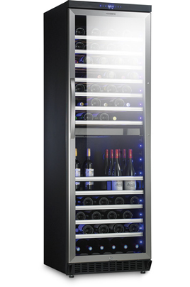 Capacité de 118 bouteilles 10 clayettes en bois Dimensions 181x59,5x57 cm Eclairage intérieur par LED - Serrure