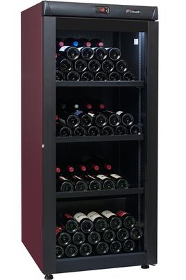 Capacité 168 bouteilles 3 clayettes en métal avec frontons bois Dimensions HxLxP : 145x62x71 cm Porte vitrée anti-UV