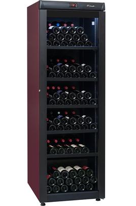 Capacité 264 bouteilles 5 clayettes en métal avec frontons bois Dimensions HxLxP : 186x62x71 cm Porte vitrée anti-UV - Contrôle électronique