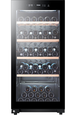 Capacité 105 bouteilles 4 clayettes en bois Dimensions HxLxP : 126.5x59.5x63.9 cm Fonction hiver - Porte vitrée anti-UV