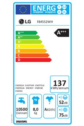 Lave linge hublot F84552WH Lg