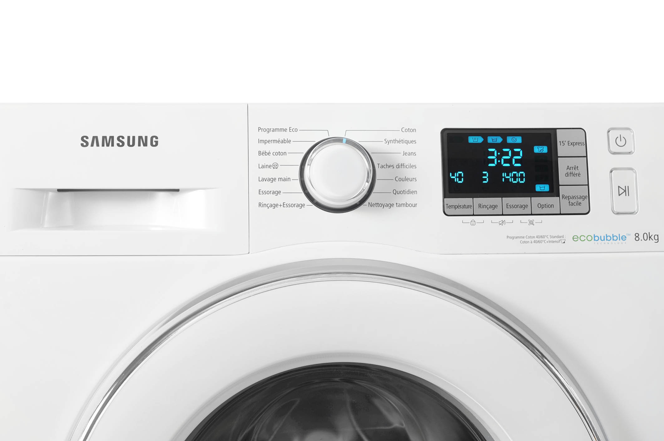 lave linge hublot samsung wf80f5e5w4w eco bubble blanc. Black Bedroom Furniture Sets. Home Design Ideas