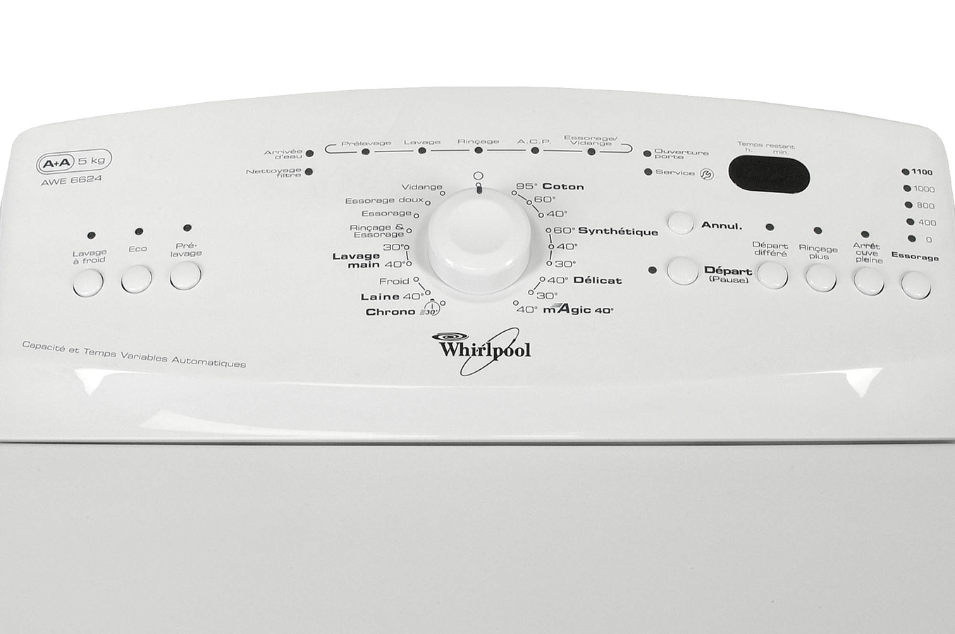 lave linge ouverture dessus whirlpool awe6624 2483009 darty