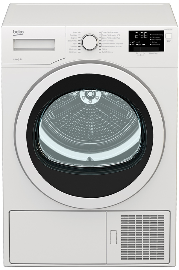 S che linge beko dds8433gx0w 4249380 darty for Temps sechage seche linge