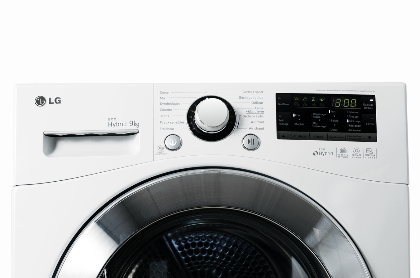 S che linge lg rc9055ap2z blanc 4049098 darty for Temps sechage seche linge