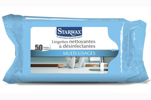 Produits d'entretien cuisine vitre multi-usage Starwax LINGETTES NETTOYANTES DESINFECTANTES X50