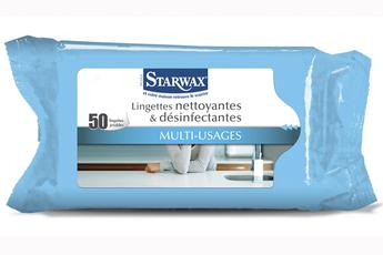Produits d'entretien cuisine vitre multi-usage LINGETTES NETTOYANTES DESINFECTANTES X50 Starwax