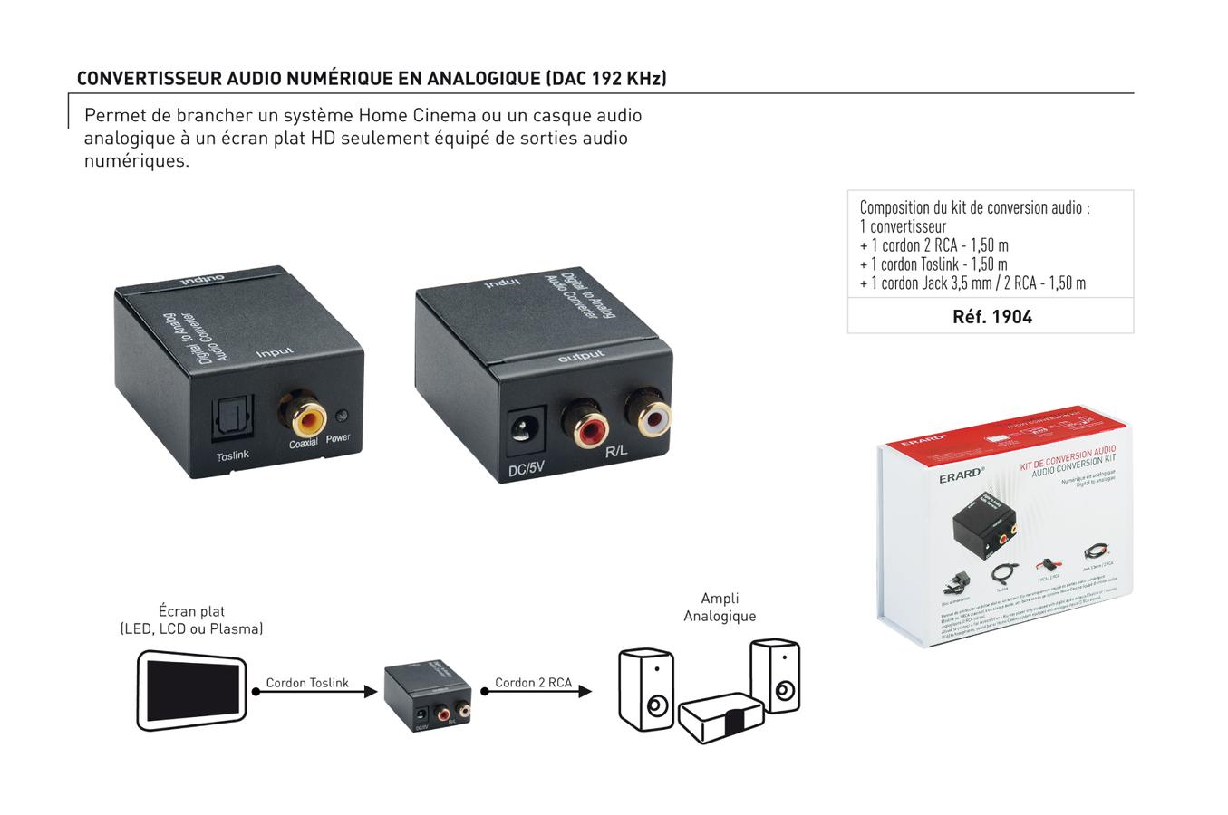 adaptateur audio erard optique coaxial rca 1904 1290320 darty. Black Bedroom Furniture Sets. Home Design Ideas