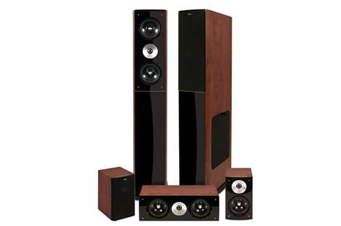Pack de 5 enceintes Bass Reflex composé de deux enceintes compactes, de deux enceintes colonnes et d'une centrale Puissance totale de 30-130 Watts RMS