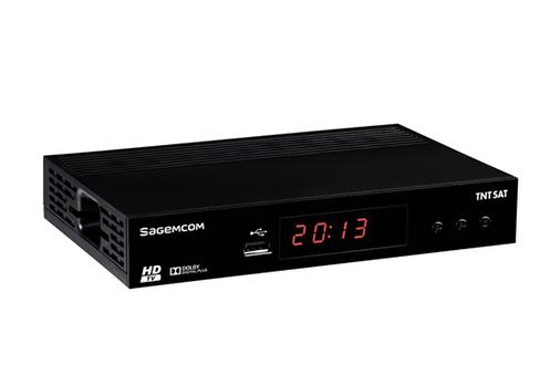 Récepteur TNT HD TNTSAT Canal Ready Lecteur de carte et port USB en façade Prises : 1 HDMI, 1 péritel