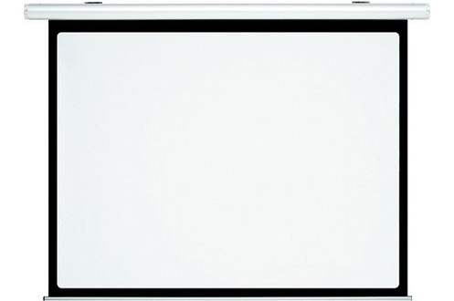 Ecran motorisé - Format 4/3 Hauteur 180 cm x Largeur 240 cm Carter aluminium laqué blanc Surface blanc mat - cadre noir
