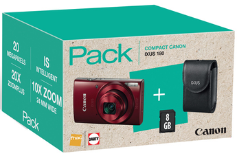 Appareil photo compact PACK IXUS 180 ROUGE + ETUI + CARTE SD 8GO Canon