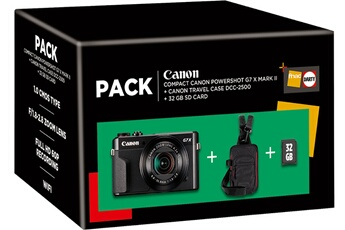 Appareil photo compact Canon Pack G7X Mark II Noir + Etui +...