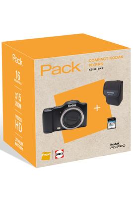 Appareil photo compact PACK Pixpro FZ152 Noir + Etui + SD 8 Go Kodak