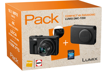 Appareil photo compact PACK LUMIX TZ80 NOIR + ETUI + SDHC 8GO Panasonic