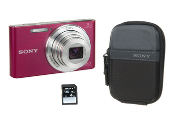 Appareil photo compact DSC-W830 ROSE ETUI+4GO Sony