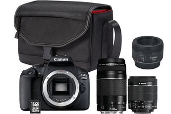Appareil photo Reflex Canon EOS 2000D + 18-55 IS II + 75-300 + CANON EF 50/1.8 STM
