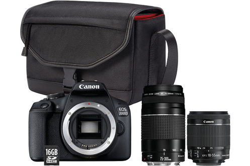 Canon EOS 2000D+EF-S 18-55 IS II+EF 75-300 f/4-5,6 III + Sac + Carte mémoire SD 16 Go
