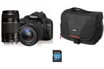 Reflex EOS 100D + EF-S 18-55 III + EF 75-300mm III + HOUSSE + SD 16GO Canon