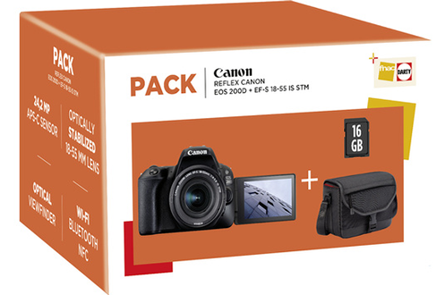 Reflex PACK EOS 200D NOIR + EF-S 18-55 MM F/4-5,6 IS STM + Housse + Carte SD 16 Go Canon