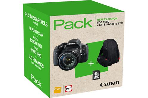 Reflex PACK EOS 750D + 18-135MM + FOURRE-TOUT + SD 16GO Canon