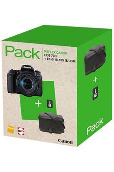 Reflex PACK EOS 77D + EF-S 18-135 IS USM + FOURRE-TOUT + SD 8GO Canon