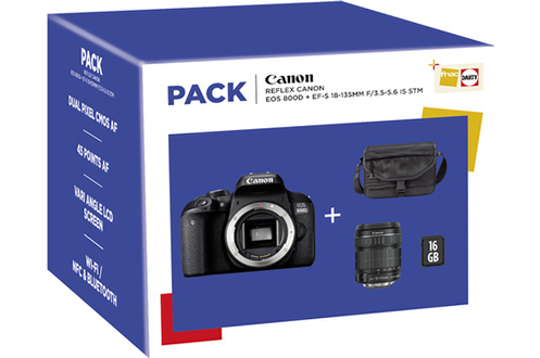 Canon PACK EOS 800D + 18-135 IS STM + FOURRE-TOUT + SD 16Go