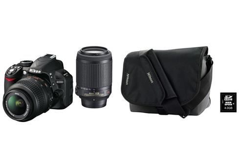 Nikon D3100 + 18-55VR + 55-200VR + HOUSSE + SD 4Go