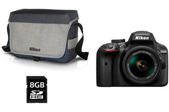 Reflex D3400 + AF-P 18-55MM VR + HOUSSE + SD 8GO Nikon