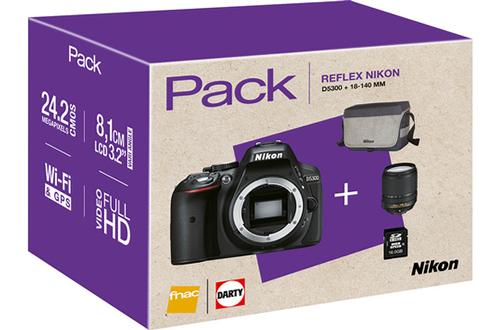 Reflex PACK D5300 + AF-S DX NIKKOR 18-140mm f/3.5-5.6G ED VR + HOUSSE + CARTE SDHC 16GO Nikon