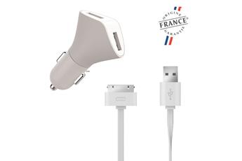 Alimentation pour tablette Chargeur allume-cigare 2 ports USB 3.1A et câble plat USB / Apple 30 pins Muvit