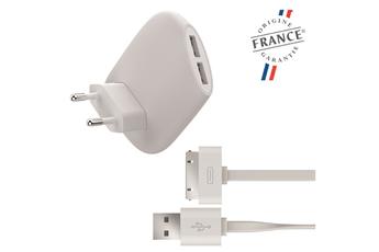 Alimentation pour tablette Chargeur secteur 2 ports USB 2.4A et câble plat USB / Apple 30 pins Muvit