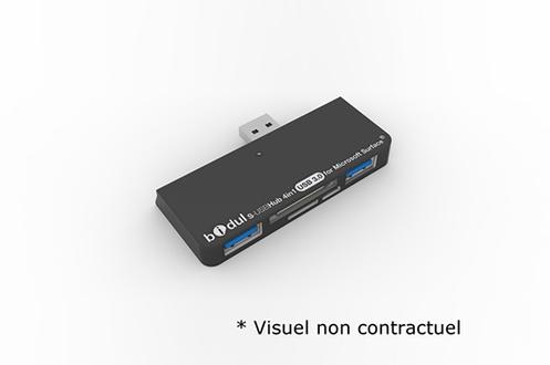 Hub USB 3.0 pour MICROSOFT SURFACE Contient 2 USB 3.0 + 1 Micro SD + 1 SDHD/MMC + 1 micro USB Compatible avec tablettes MICROSOFT SURFACE PRO4, PRO3, PRO2 et SURFACE 3 Idéal pour transférer ces données