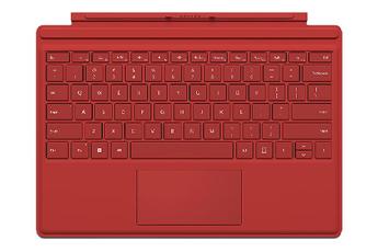 Connectique et adaptateur pour tablette Clavier AZERTY Type Cover rouge pour Surface Pro 4 Microsoft