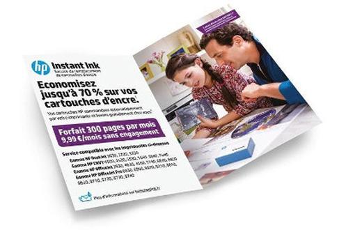 Forfait sans engagement Instant Ink 300 pages par mois Economise jusqu'à 70 % sur vos cartouches d'encre Modifiez ou résiliez vos forfaits en ligne à tout moment et sans pénalité Compatible HP Deskjet, HP ENVY, HP Officejet et HP Officejet Pro