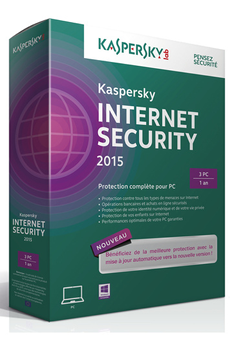 Logiciel Internet Security 2015 - 3 postes /1 an Kaspersky