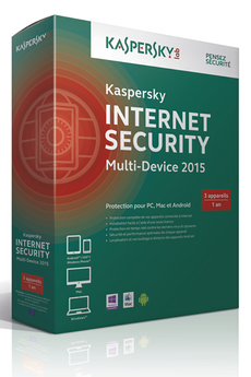 Logiciel INTERNET SECURITY MULTI-DEVICE 2015 - 3 APPAREILS / 1 AN Kaspersky