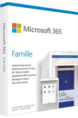 Microsoft 365 FAMILLE - 1 AN D'ABONNEMENT - 2 À 6 PERSONNES