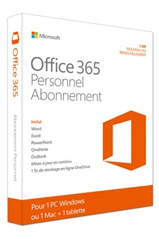 Logiciel Office 365 Personnel - 1 PC/Mac/tablette/smartphone - Abonnement 1 an Microsoft