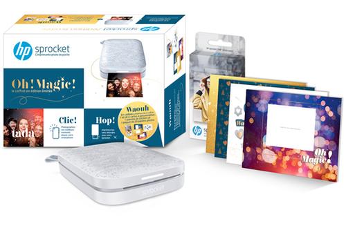 Hp Pack Sprocket 200 Grise + 1 kit de 6 cartes + 1 planche de stickers et 1 paquet de 20 papiers photos