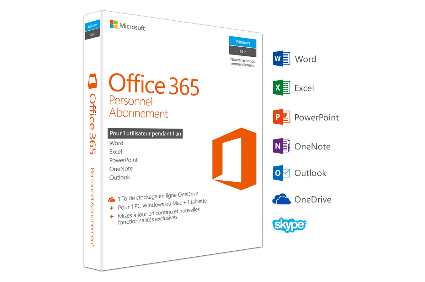 Logiciel microsoft office 365 personnel 1 pc windows mac tablette abonnement 1 an off - Pack office mac gratuit telecharger ...