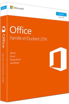 Logiciel Office Famille et étudiant 2016- 1 PC Microsoft