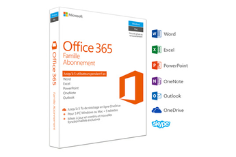 Logiciel Office 365 Famille - 5 PC Windosw / Mac + 5 tablettes - Abonnement 1 an Microsoft