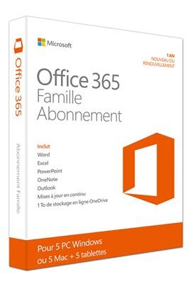 Logiciel Microsoft Office 365 Famille – 5 PC ou Mac – Abonnement 1 an